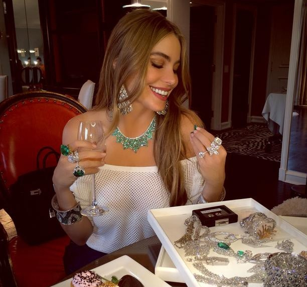 Sofia Vergara trying on Lorraine Schwartz diamonds.