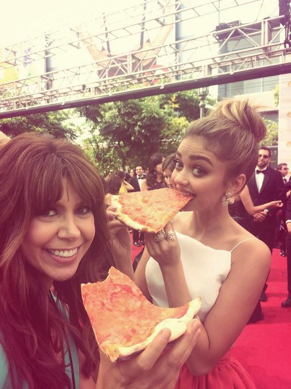 Cuteness overload. Pizza at the Emmys? We love it.