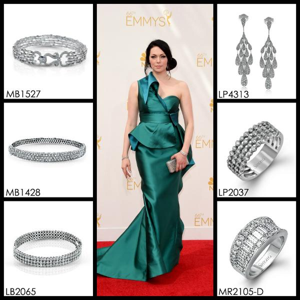 The beautiful Laura Prepon stuns in Simon G. Jewelry at the 2014 Emmy Awards.