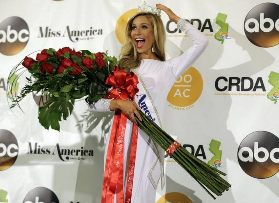 Miss New York Kira Kazantsev poses for photographers during a news conference after she was crowned Miss America 2015 during the Miss America 2015 pageant, Monday, Sept. 15, 2014, in Atlantic City, N.J. (AP Photo/Mel Evans)