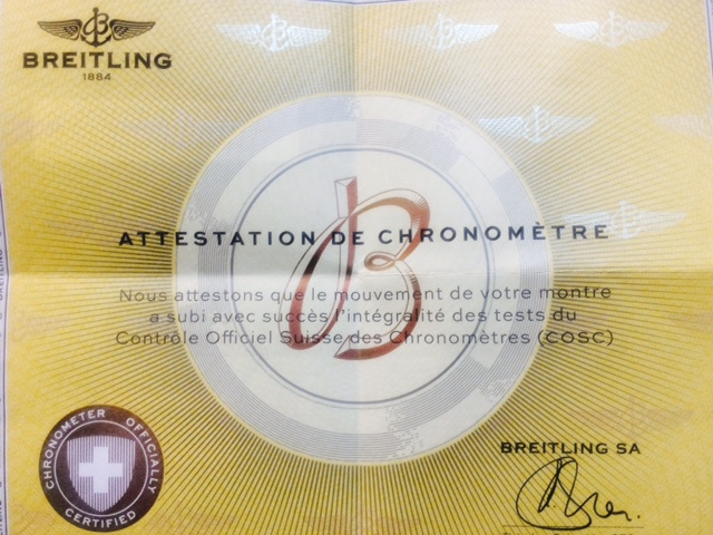 Officially Certified Chronometer Certificate.