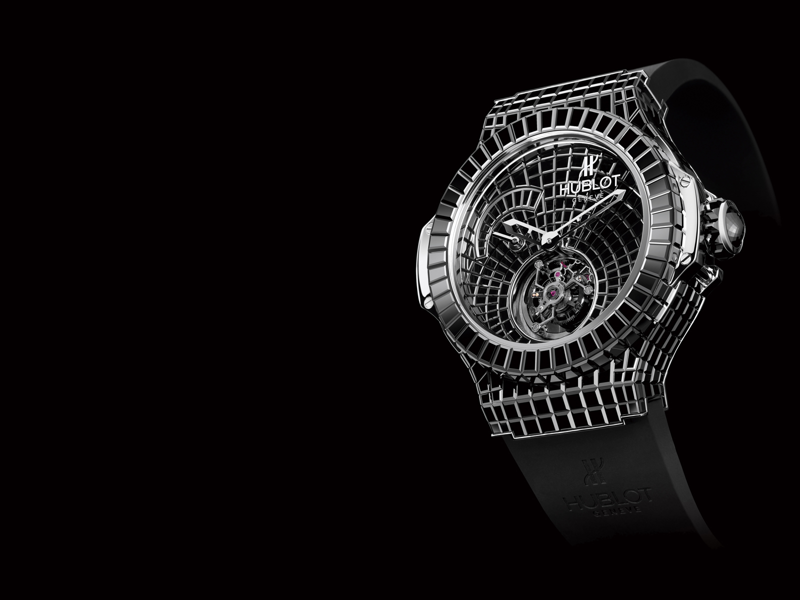 The watch is made of white gold that weighs 18 carats. It does not have any numbers on its face and it has an adjustable leather strap. The case, clasp and crown dial are encrusted with baguette-cut black diamonds, part of the 544 diamonds that weigh 34.5 carats lain into the watch.