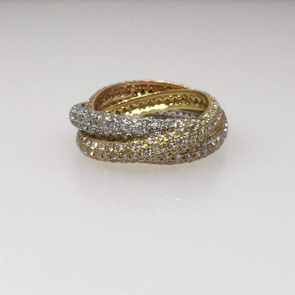 18 Karat Rose Yellow Stackable Rings. Diamonds: 4.16 ctw.