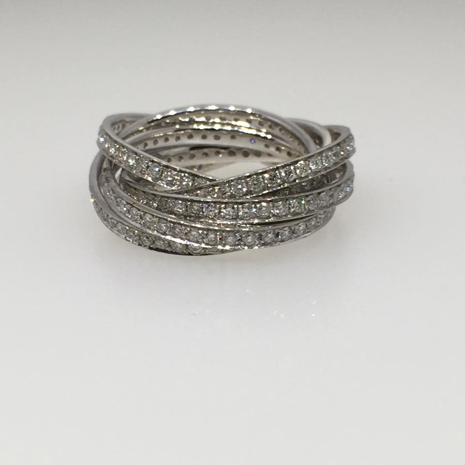 18 Karat Six Band White Gold Ring. Diamonds: 2.86 tw Pave.
