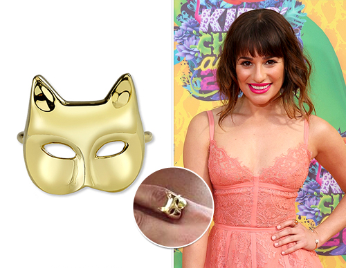 Lea Michele wore a funky Anita Ko Cat Mask 18-karat Gold Ring with her blush pink dress.