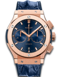 Hublot Classic Fusion Watch  Blue Chronograph King Gold  CALL US: 312-944.3100