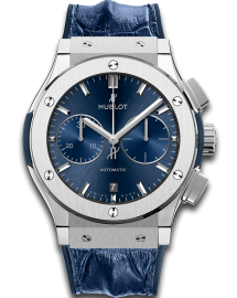 Hublot Classic Fusion Watch  Blue Chronograph Titanium  CALL US: 312-944.3100