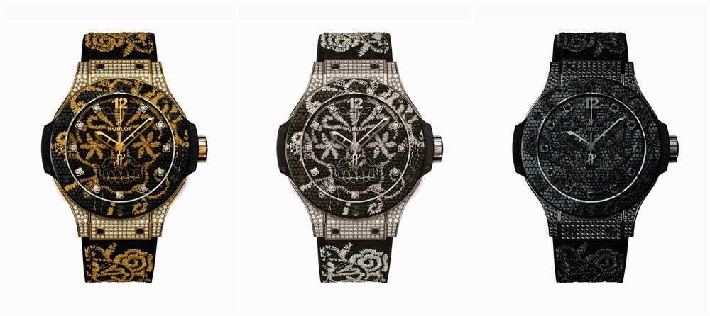 Hublot Big Bang Broderie watch is available in 3 versions: Gold, Silver or All Black, studded.