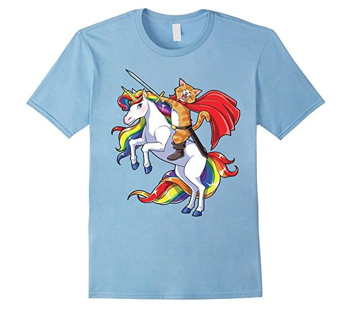 17. Cat Riding Unicorn T-shirt - $17.99