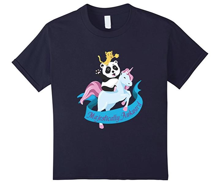21. Majestically Awkward Cat Riding Panda Tee - $18.99