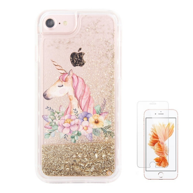 14. Glitter Floral Unicorn Waterfall Clear Protective Case for iPhone 6S Plus/ 6 Plus w/ Screen Protector - $11.99