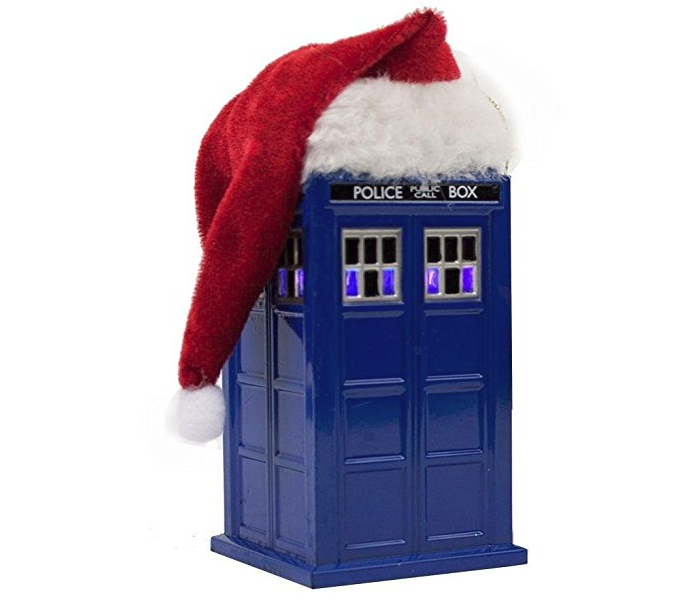 4.5-Inch Doctor Who TARDIS with LED Light and Santa Hat