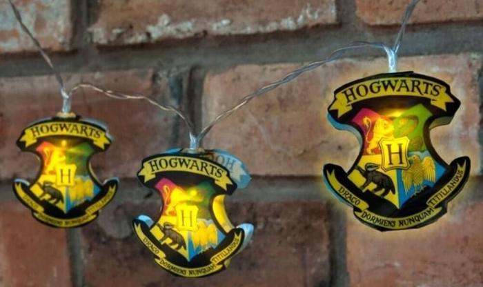 10. Official Harry Potter Hogwarts Crest 2D 12 LED String Lights - $14.24