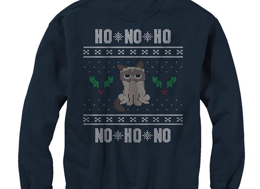 8. Grumpy Cat HO HO No Ugly Christmas Sweater - $37
