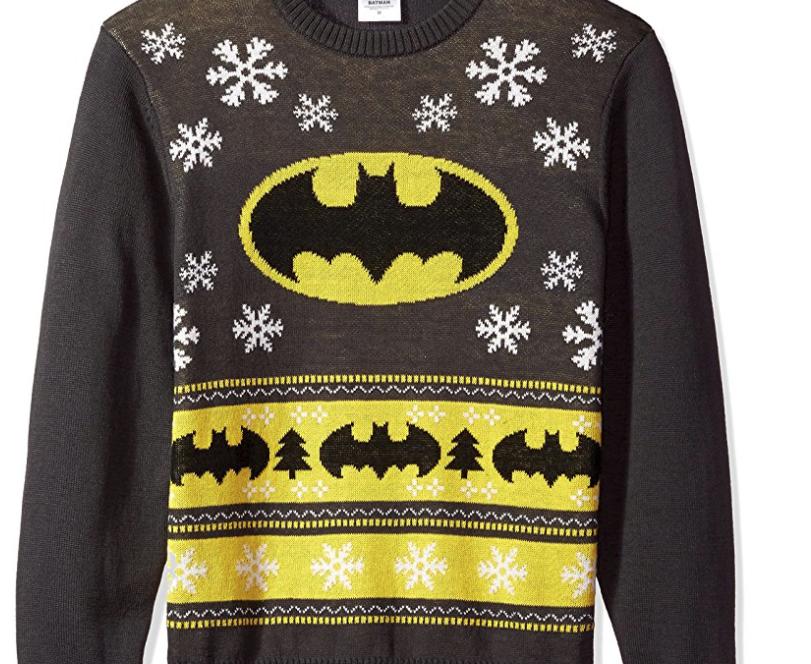 10. DC Comics Batman Bat Signal Ugly Christmas Sweater - $20.99