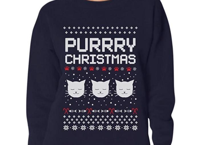 11. Purrry Christmas Ugly Sweater - $12.95