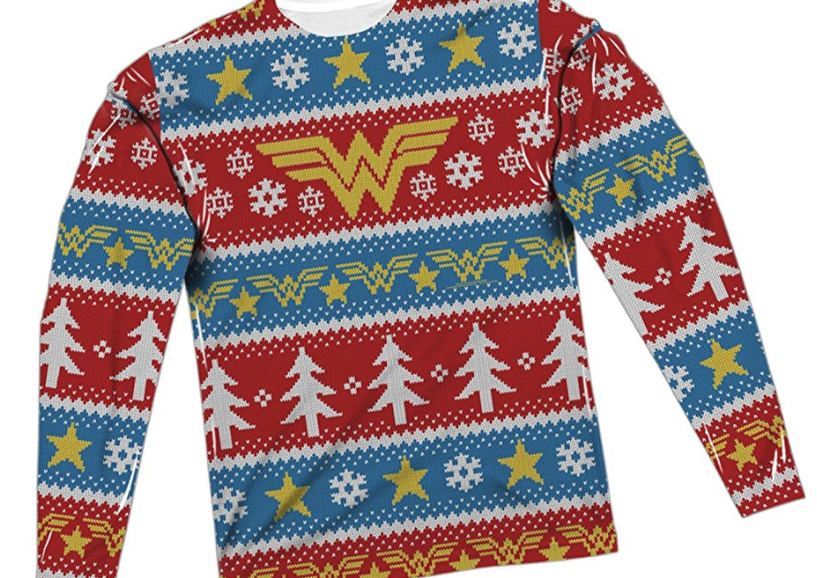 14. Wonder Woman All-Over Ugly Christmas Sweater - $47.95