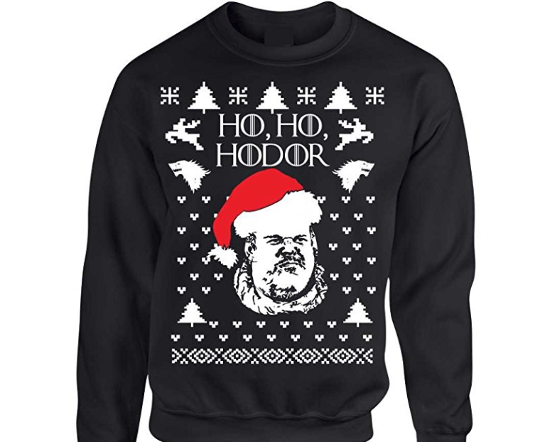 16. Ho Ho Hodor Ugly Christmas Sweater - $26.94