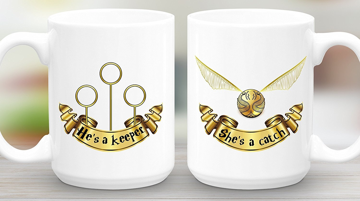 She's a Catch, He's a Keeper 15 oz Mug Gift Set, Harry Potter Valentines Day gifts
