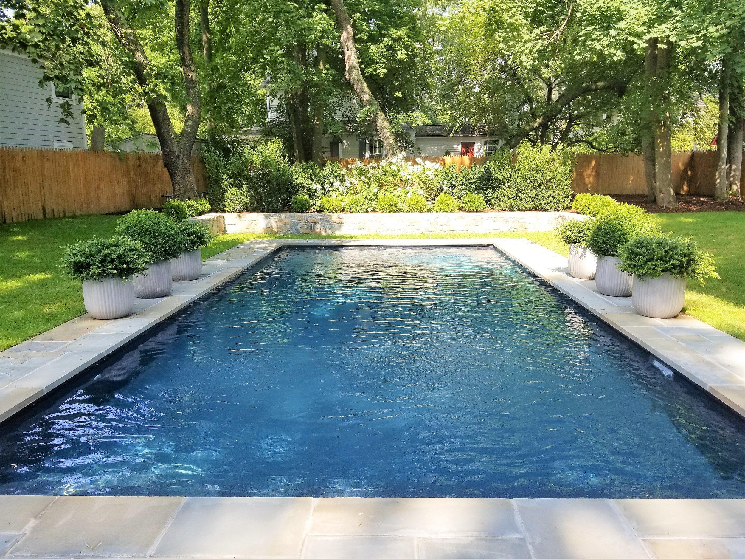 Rowayton vinyl pool retreat. Classic English garden style.