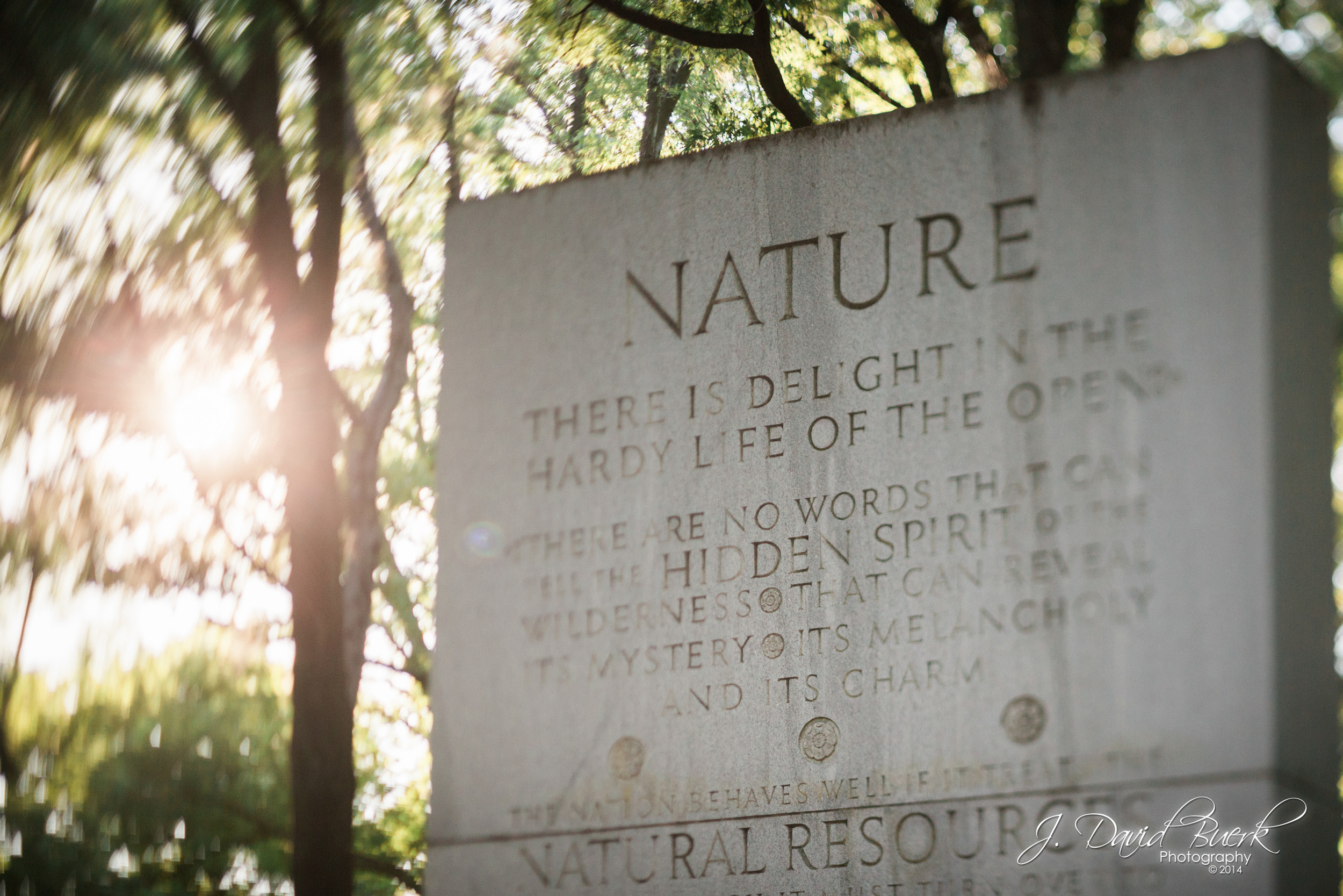 "The ""Nature"" pillar at Roosevelt Island, Washington, DC."
