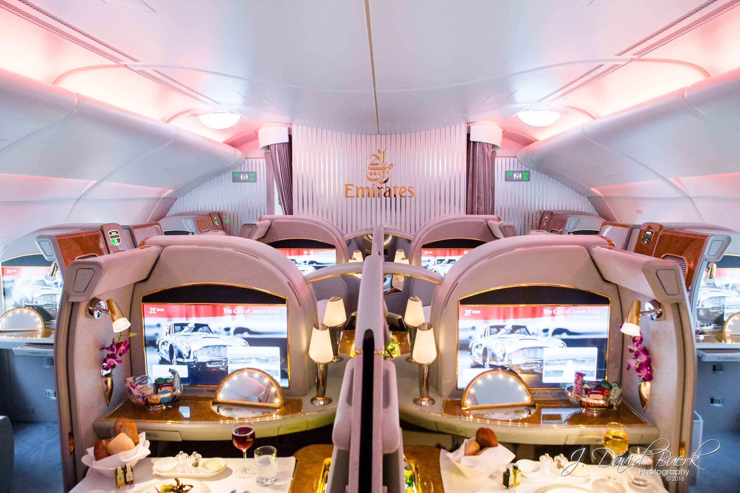 The First Class cabin aboard Emirates' new A380, which began inaugural service between Washington, DC and Dubai on February 23rd, 2016.