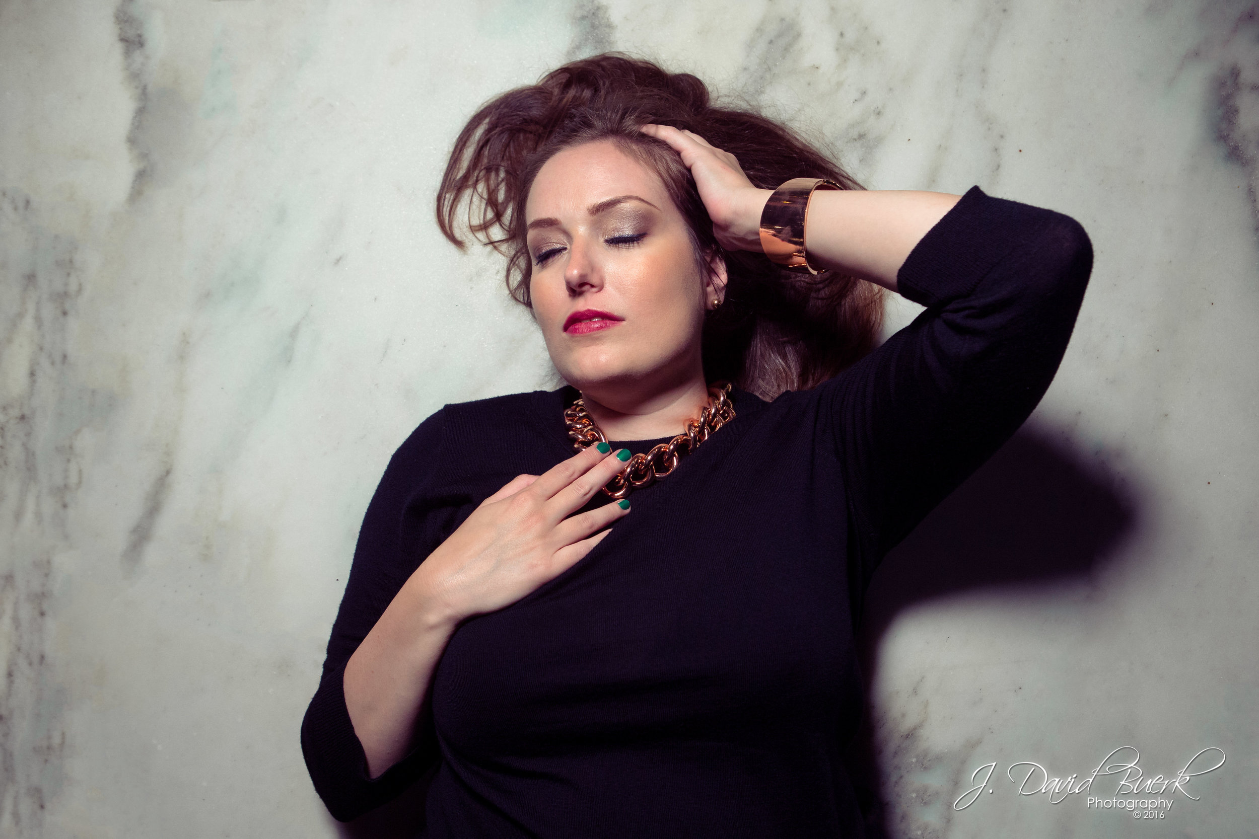 Portrait of  Rose Corps , a synth-pop musician and singer, photographed at CityCenterDC for promotional portraits before the release of her first two singles  Frosted Glass  and  Making it Hard.