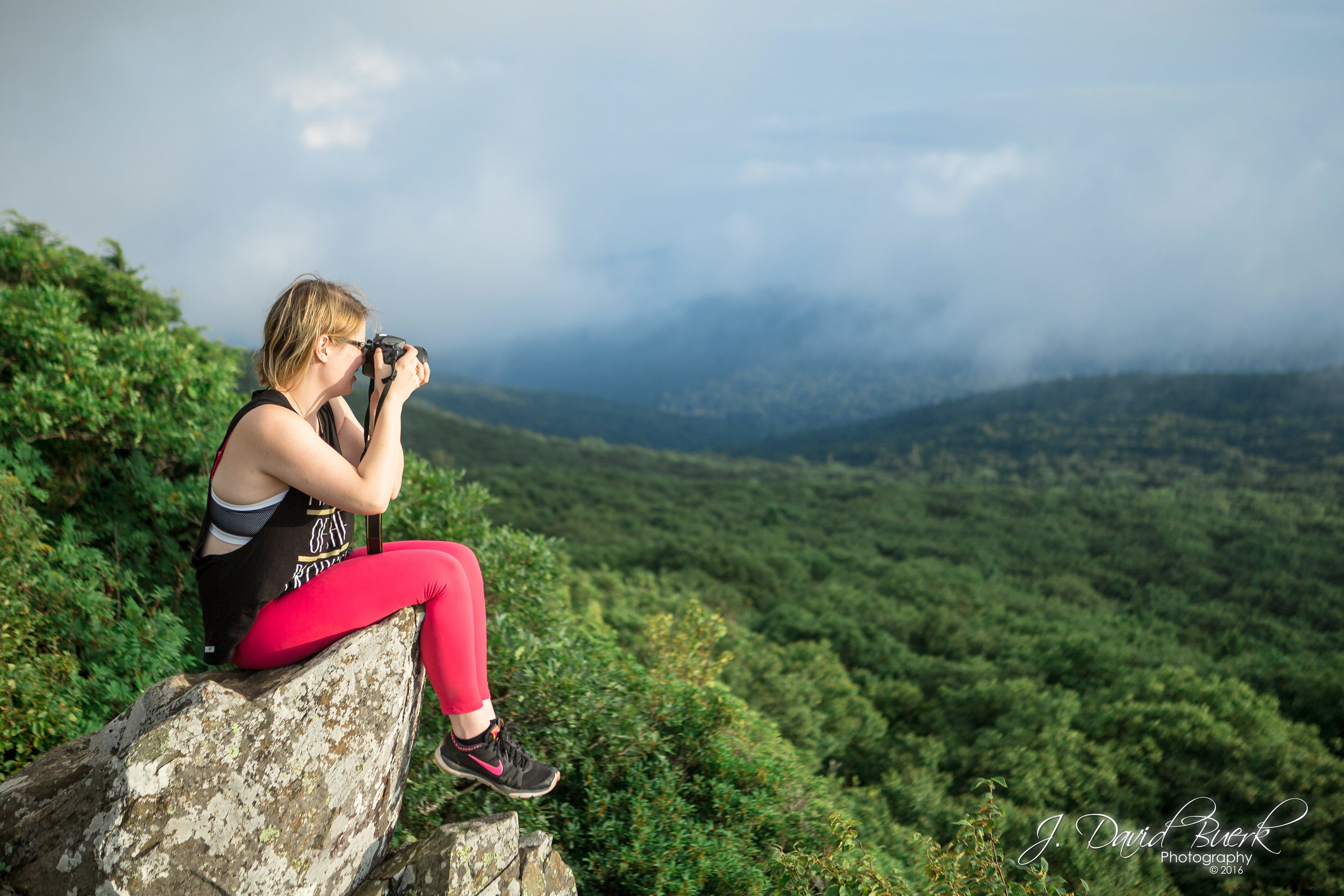 Portrait of Alyssa McGuire, fitness coach and newborn photographer, photographed atop Stony Man Mountain in Shenandoah, Virginia.