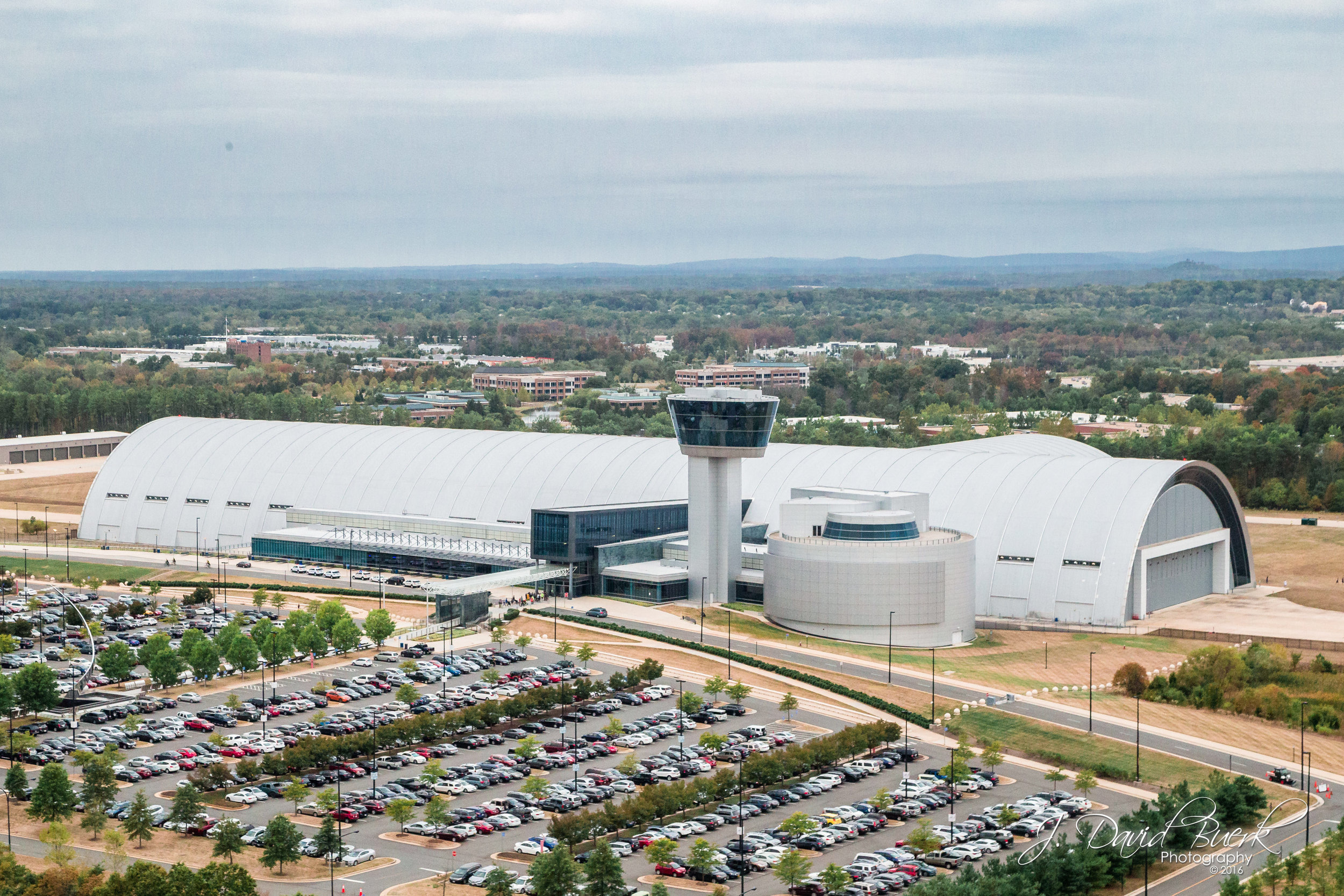 Aerial photograph of the Smithsonian National Air and Space Museum's Steven F. Udvar-Hazy Center in Dulles, Virginia.  Photographed via helicopter, 250ft AGL.