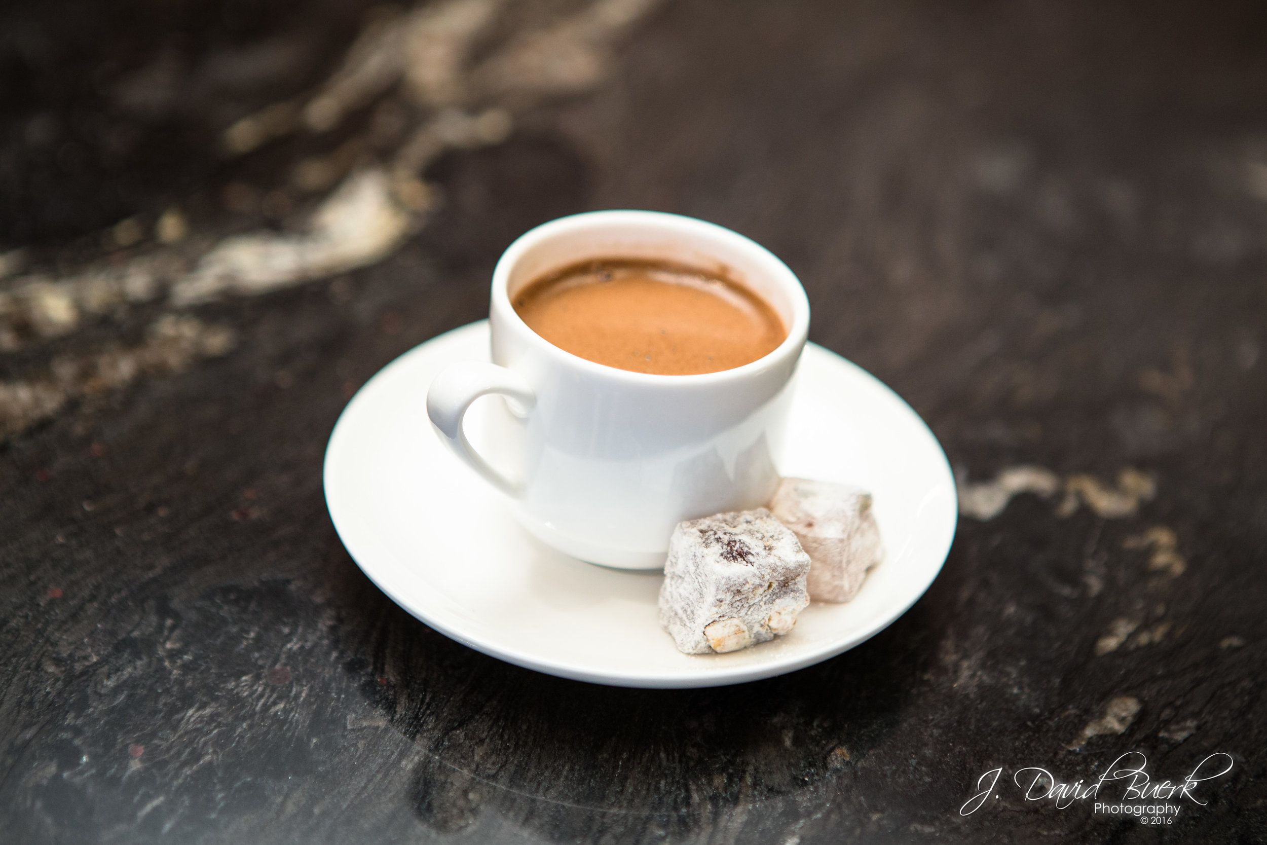 A Turkish coffee with Turkish Delight served inside Turkish Airlines' new Business Lounge at Washington Dulles International Airport.