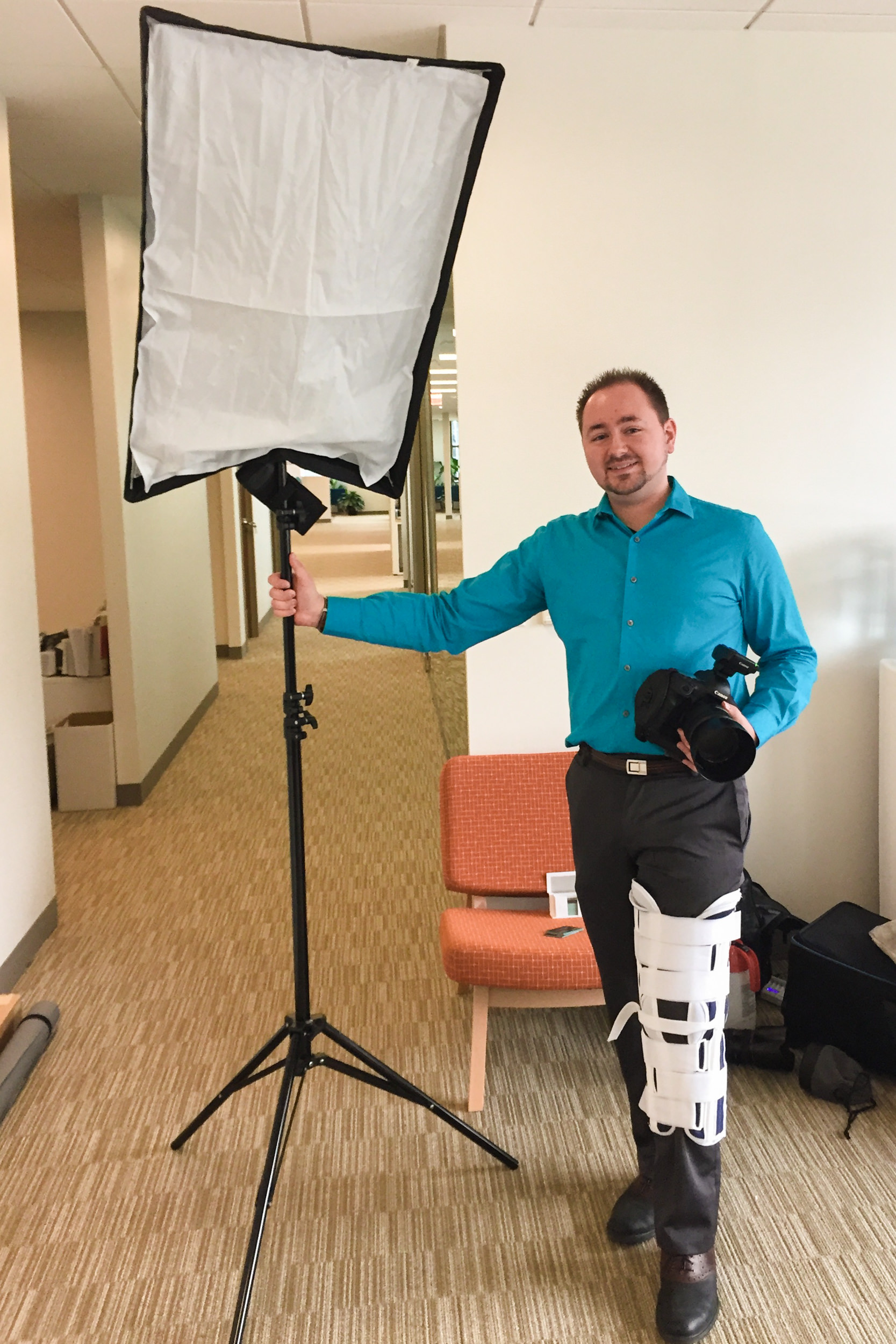 "Myself wearing a knee immobilizer at a portrait photoshoot two days after my initial knee injury.  The next day I would meet my orthopedist and find out the extent of the damage.  The doctor told me I was truly lucky that I'd only torn one ligament and had no other damage; the MRI showed no loose bodies, no damaged cartilage, and no torn menisci; all extremely common injuries with the type of fall and injury I experienced, but was able to avoid from sheer luck.  In October, later in the year, I would undergo a successful MPFL reconstruction surgery to stabilize the kneecap and prevent future dislocations, instability, and additional damage.  While this picture may be a personal low point ironically placed in a ""Best of"" post, this was a life-altering event, and more than qualifies in this ""Year in Review."""