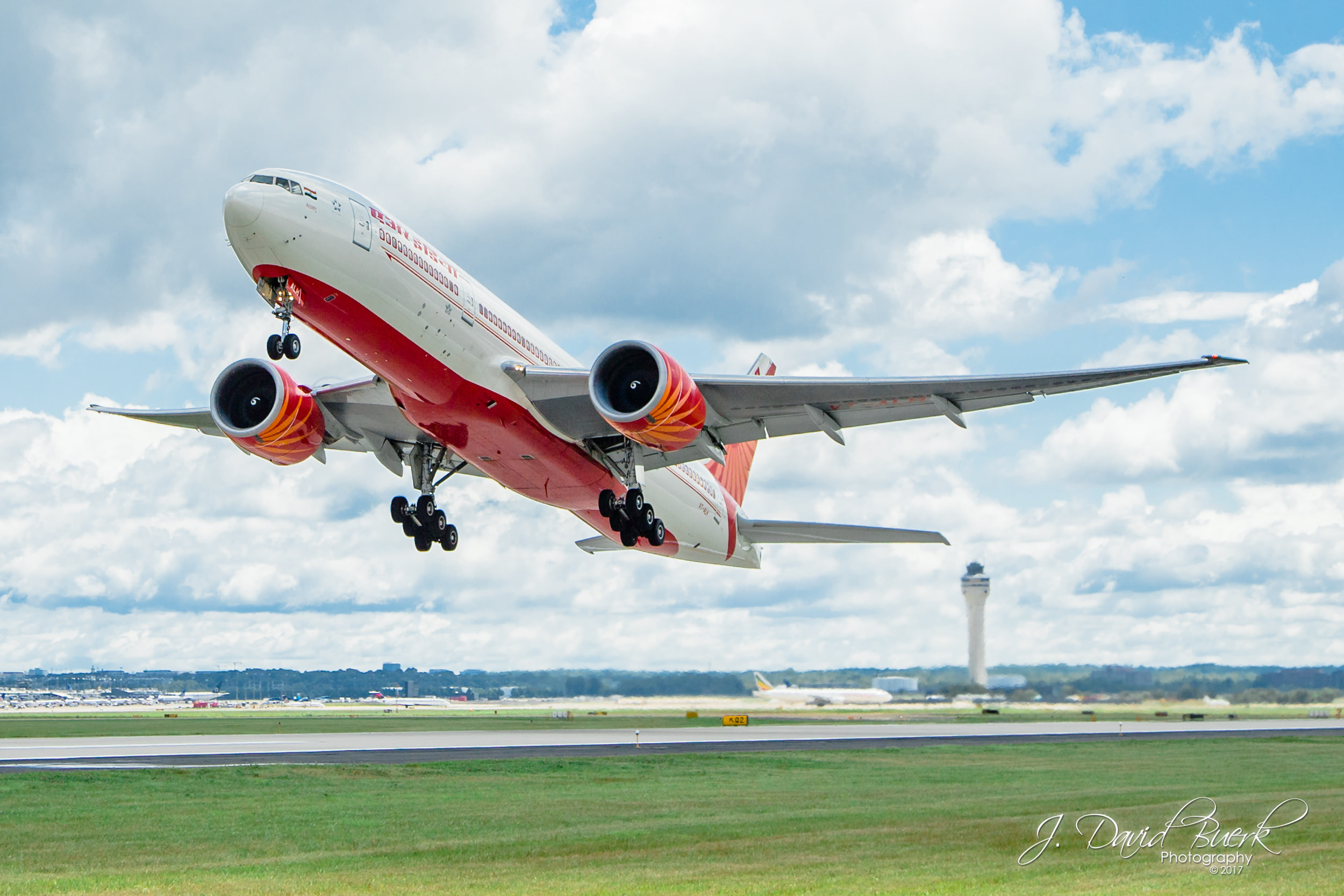 Air India's 777-200LR departing Washington Dulles International Airport for the first time.