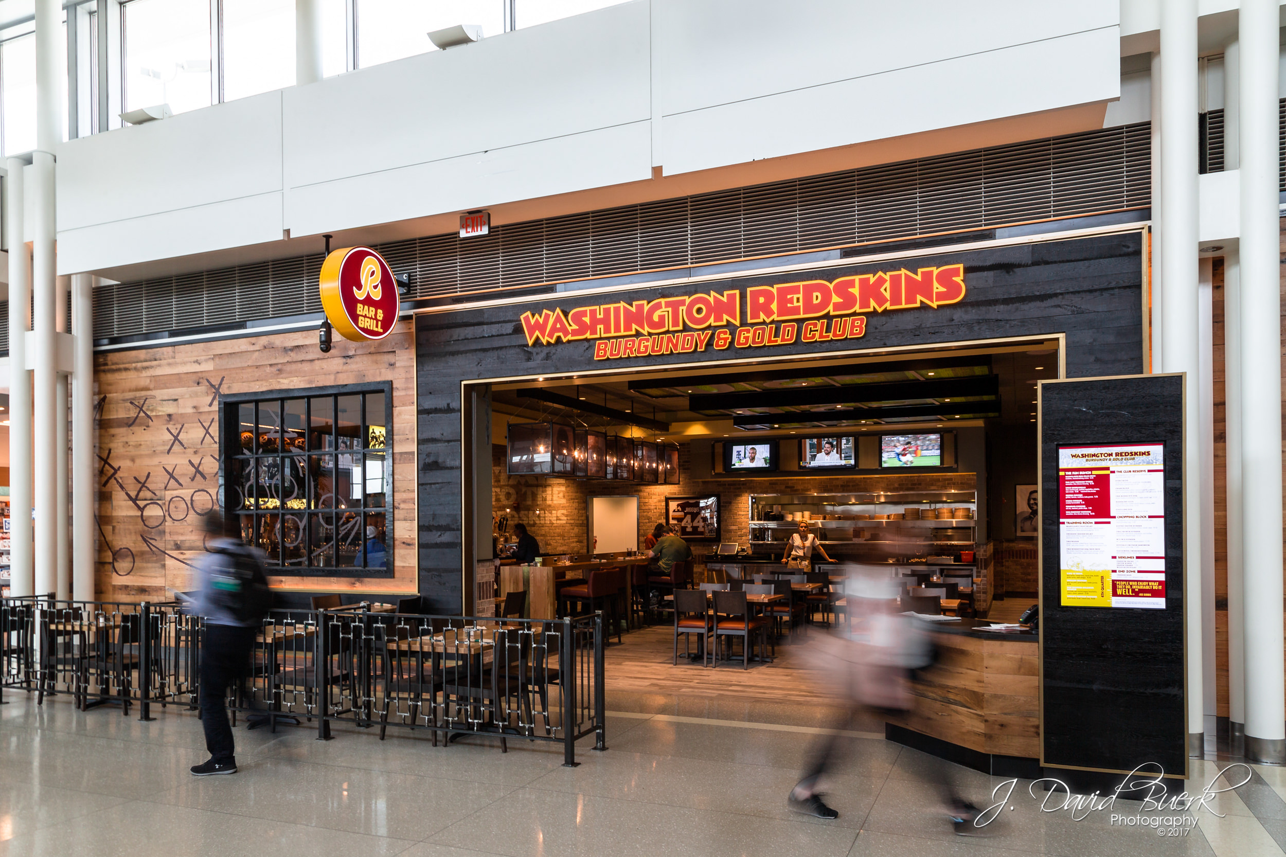 The Washington Redskins Burgundy & Gold Club restaurant and bar at Washington Dulles International Airport.