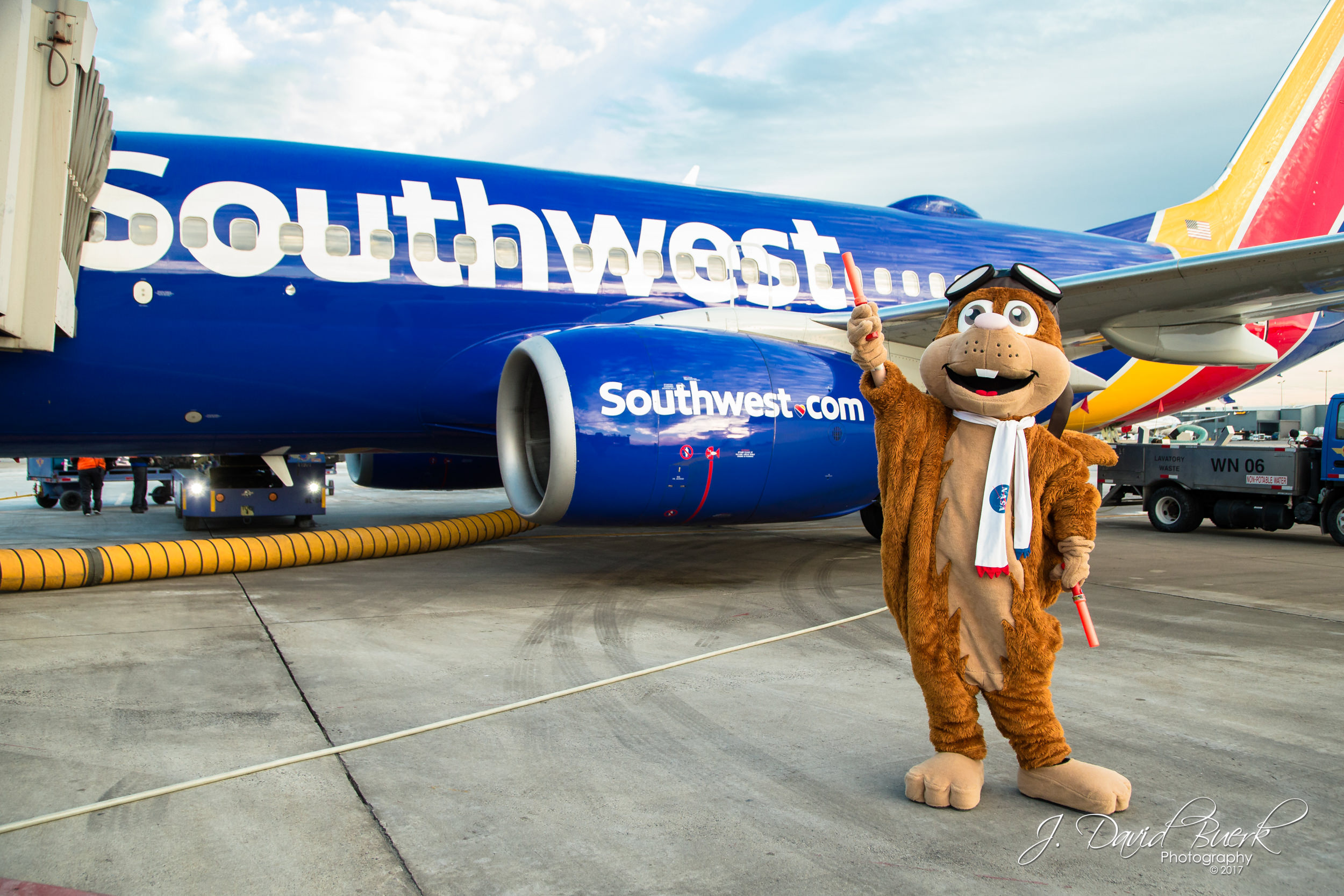 Orville, NASA's flying squirrel mascot, marshals in a Southwest Airlines 737 at Washington Dulles International Airport.