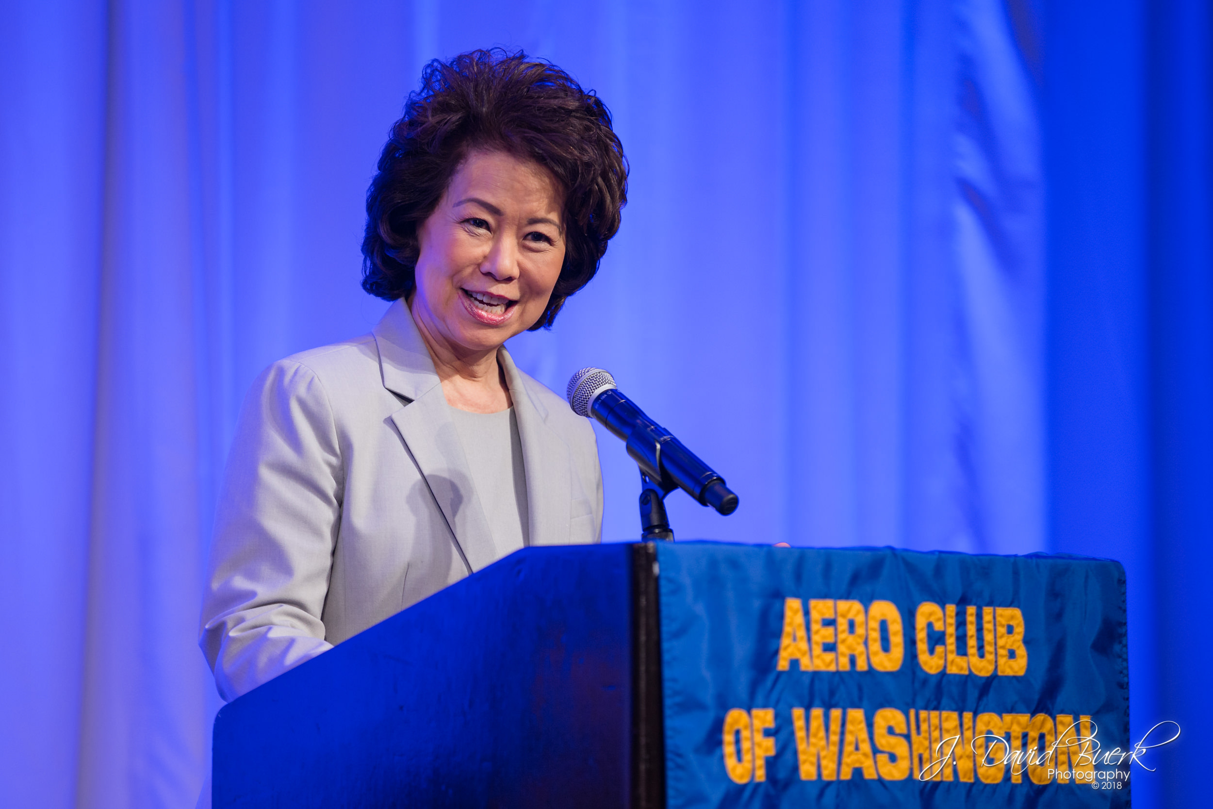 "The Honorable Elaine Chao, United States Secretary of Transportation, addresses guests at The Aero Club of Washington's ""When Ingenuity and Innovation Come Together"" luncheon, June, 2018."