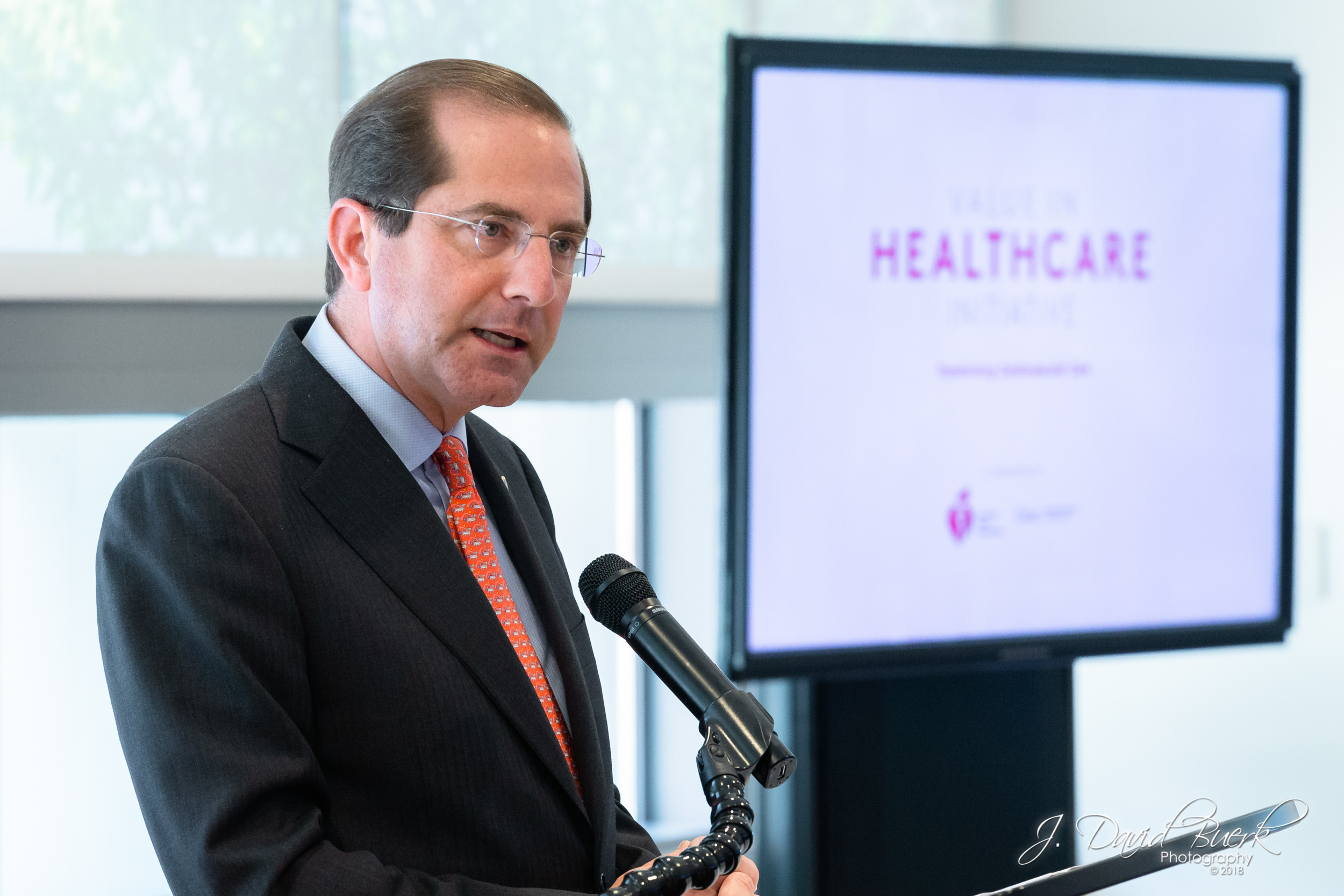 Secretary of Health and Human Services Alex Azar speaking at The American Heart Association's Value in Healthcare Initiative Meeting at Kaiser Permanente's Center for Total Health in Washington, DC.