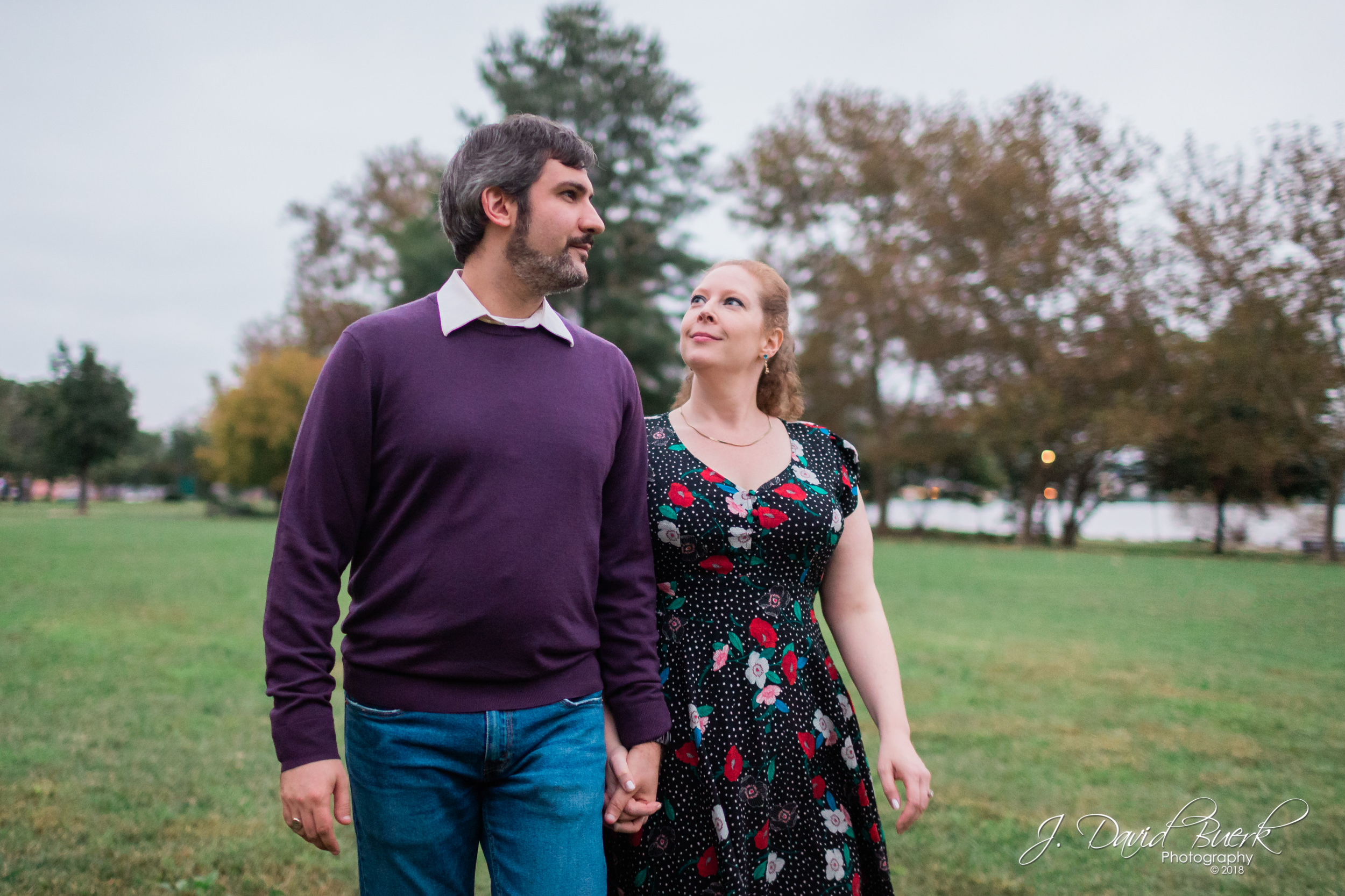 Bayard and Margaret stroll during their engagement session in Alexandria, Virginia.