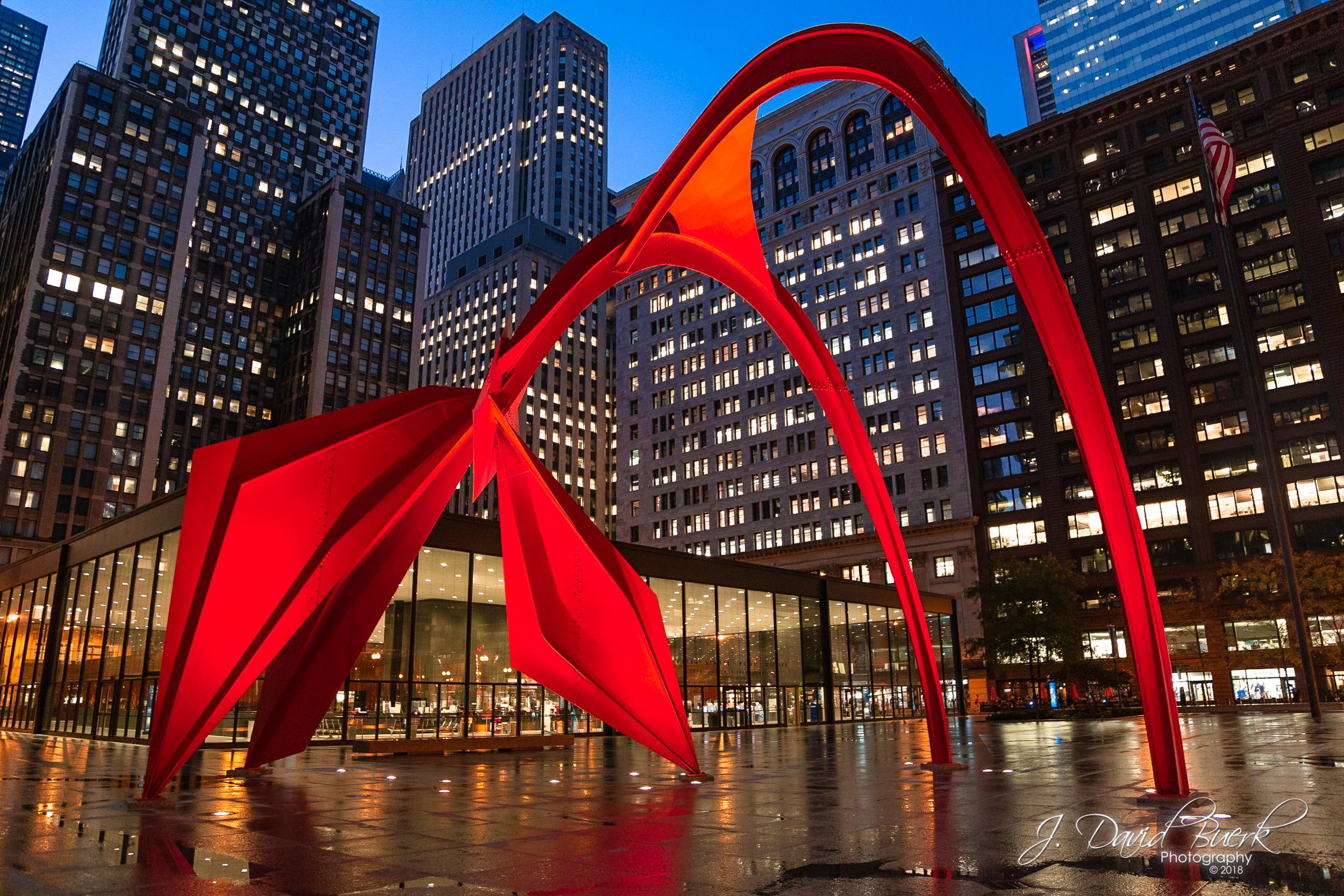 Alexander Calder's  Flamingo  in Chicago, Illinois.