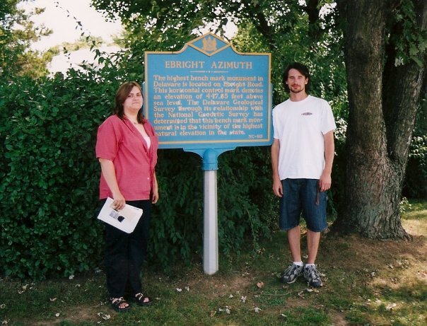 Brooke and I with the summit sign. 1st visit, 2004.