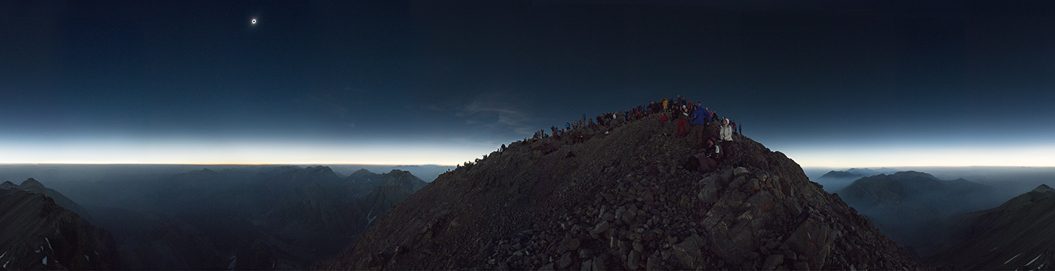 360 degree panorama from the summit of Mount Borah, Idaho during the total solar eclipse of 2017.