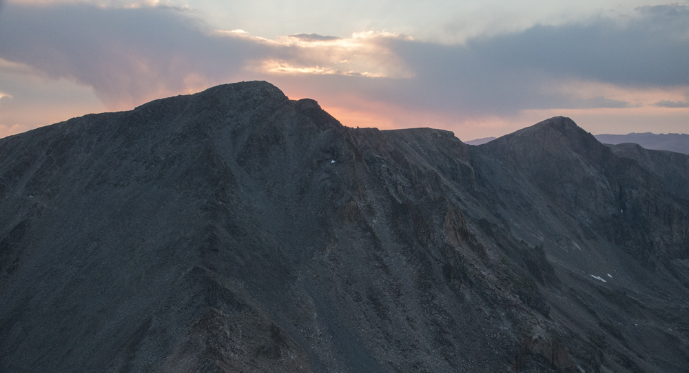 Sun rise over Tempest Peak and Froze-to-Death Plateau