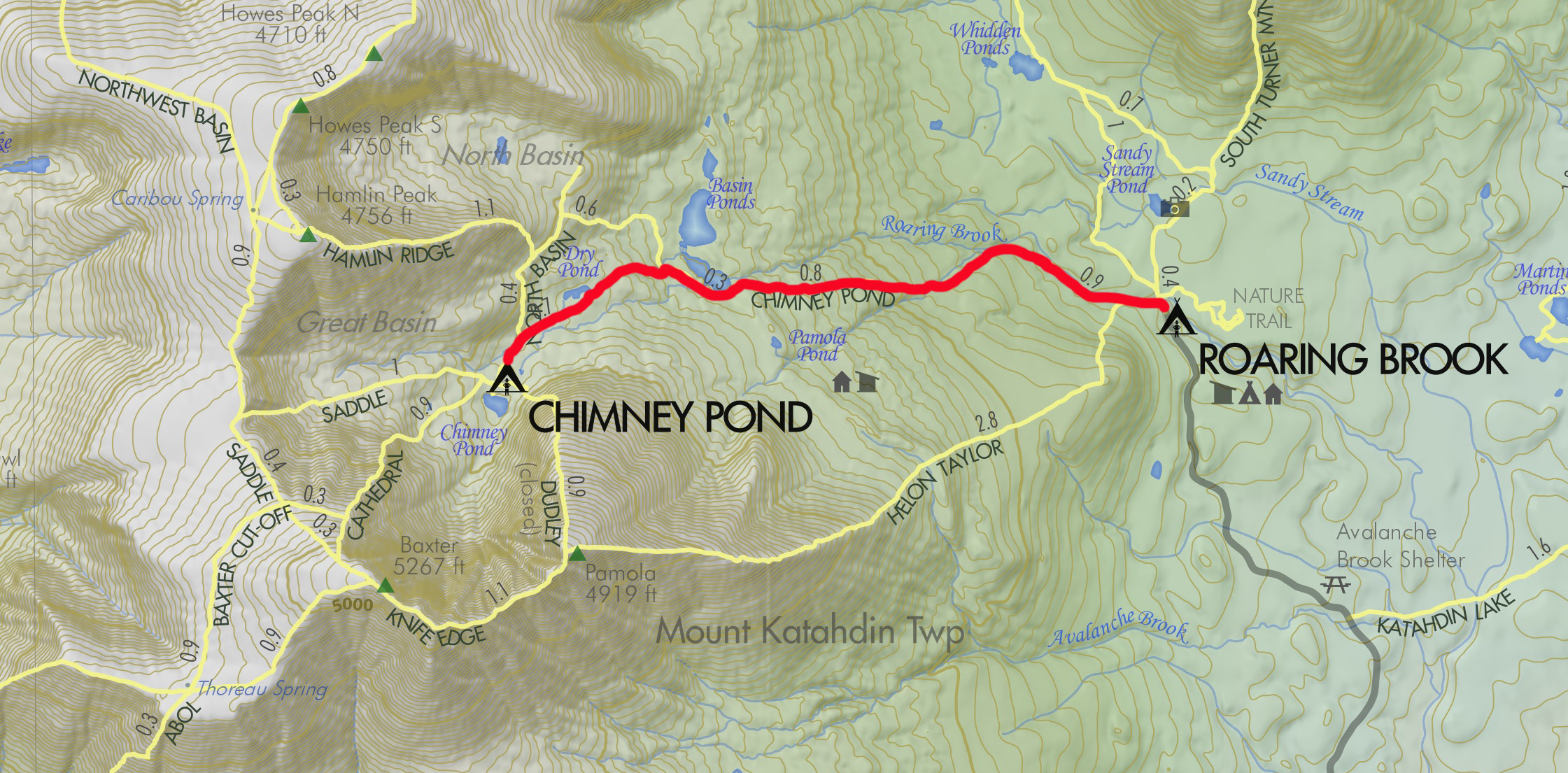 The route for my hike in to Chimney Pond campground