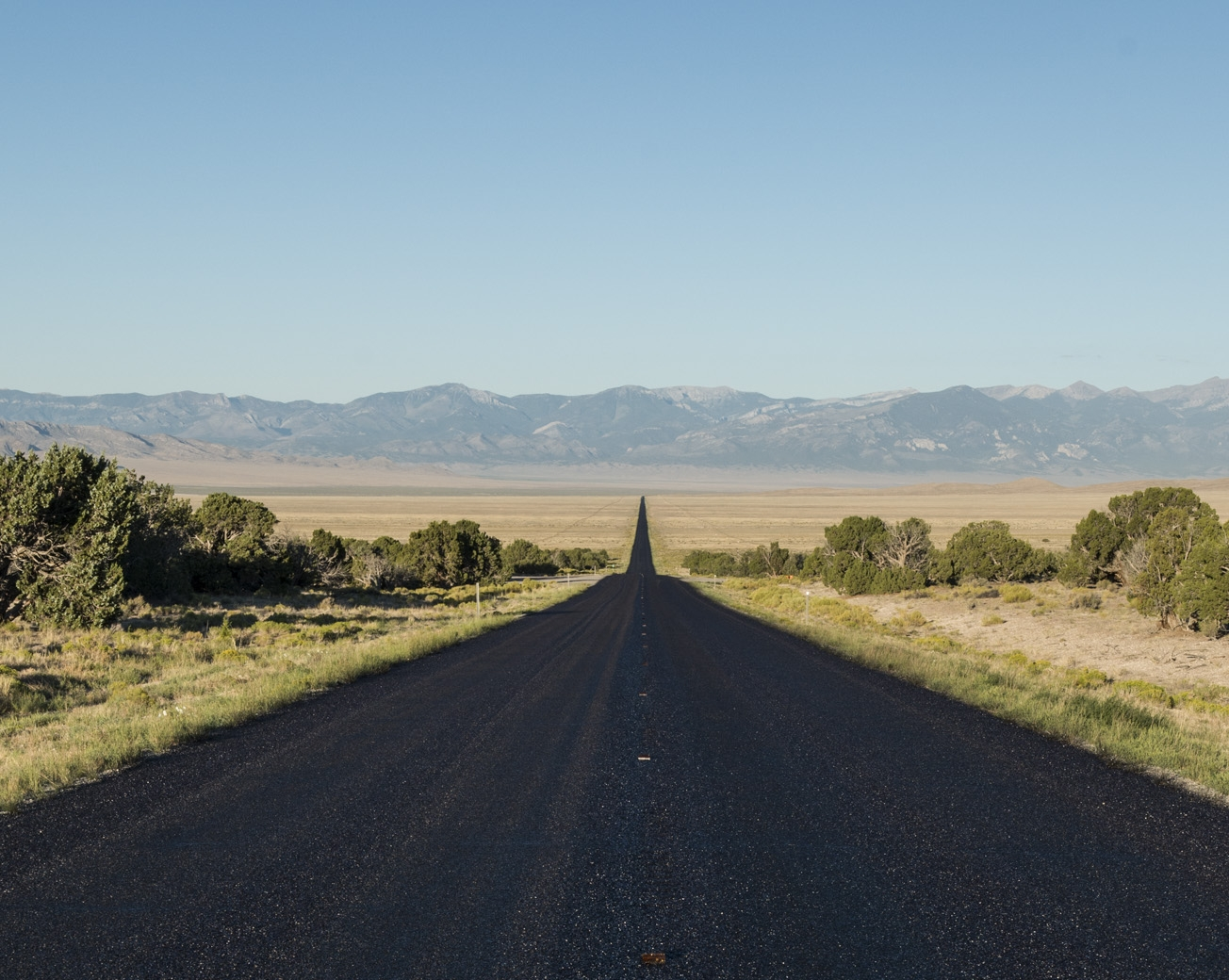 Route 50. The loneliest road in America. Heading toward Great Basin NP.