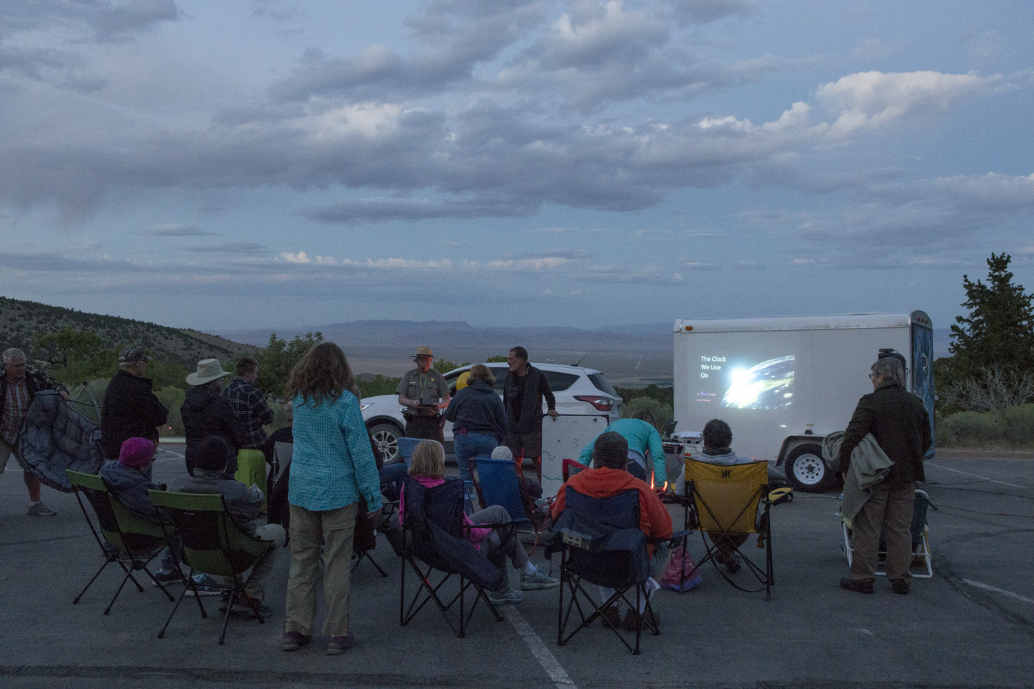 Stargazing program at the visitor's center. The clouds are not a good sign.