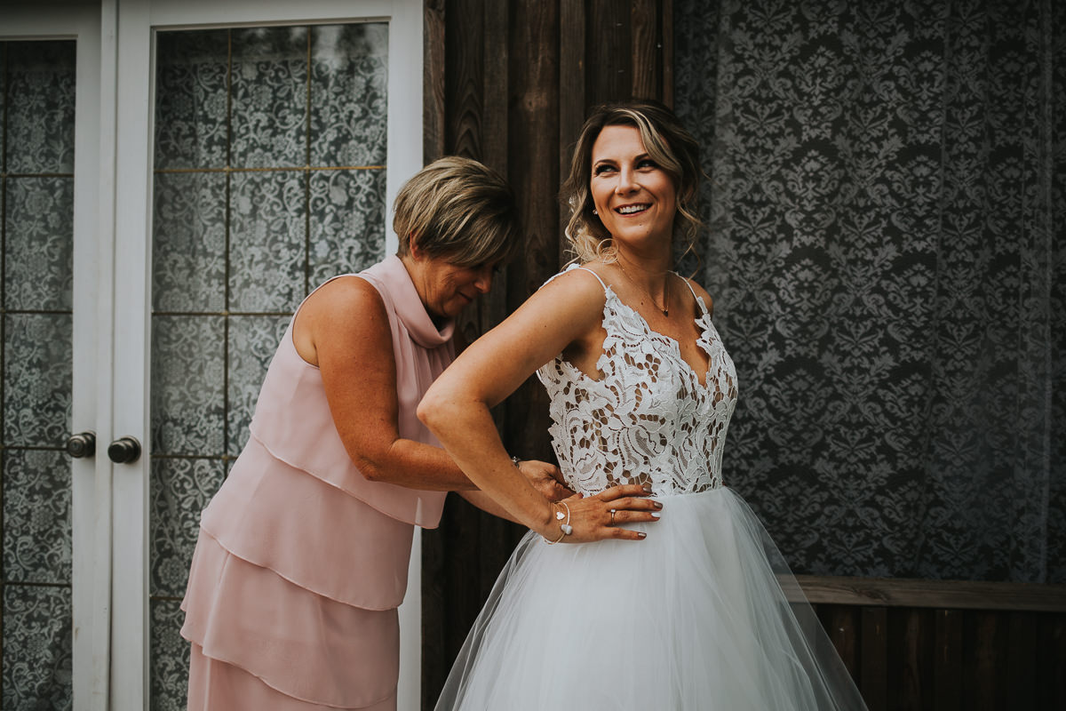 Bride getting ready Blush by Hailey Paige lace boho dress