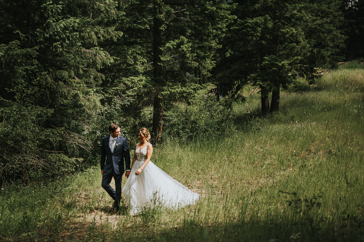 Bride and groom rustic Alberta ranch wedding