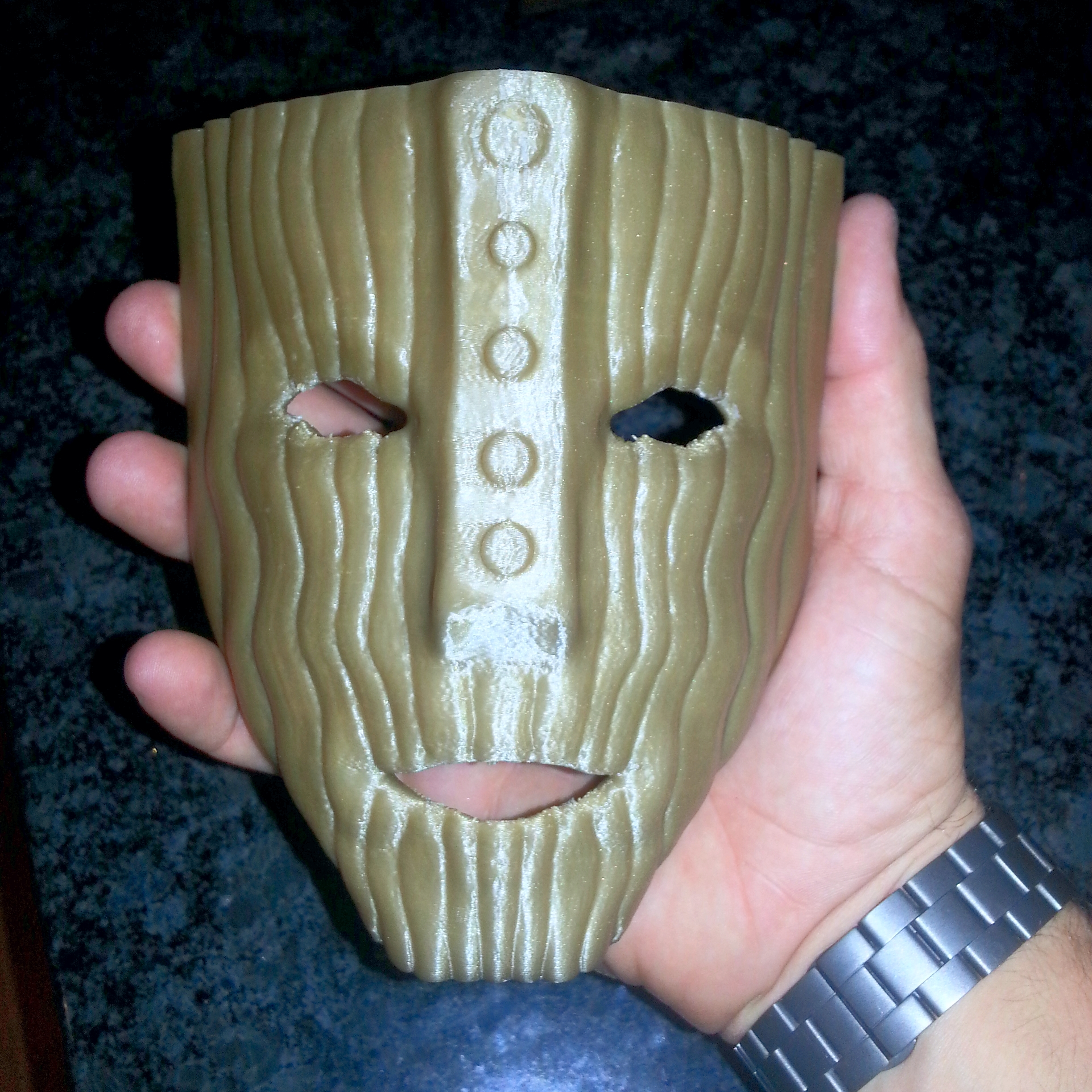 """The """"Mask""""   Makergear M2 - 0.2mm layer height - Gold PLA"""