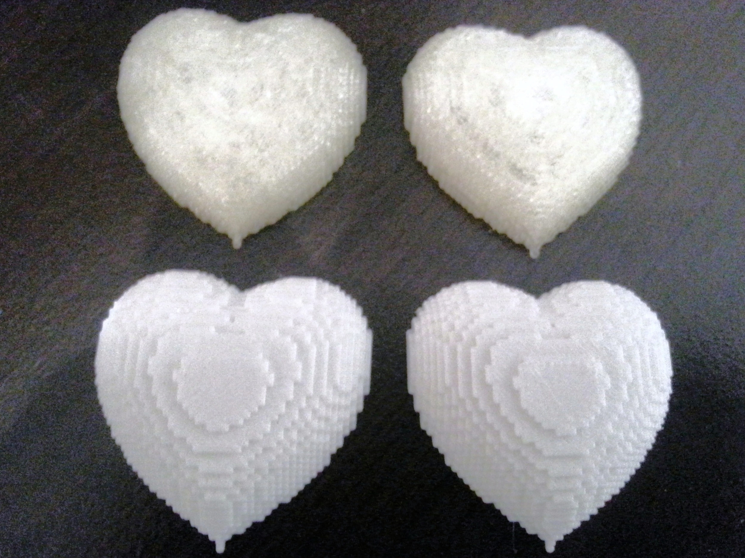 Clear and White PLA Heart Pendants