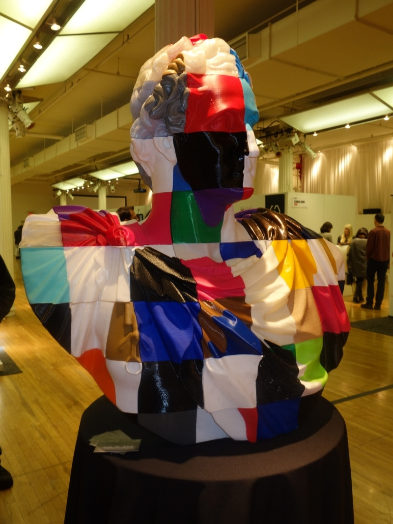 Completed crowdsourced sculpture on display at the 2014 NYC 3D Printshow