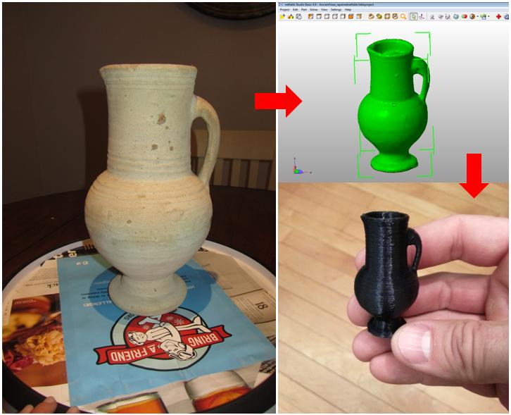 Photos -> 3D model -> Scaled down 3D printed replica